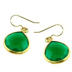 Beautifully sized, these high quality green onyx earrings are reminiscent of the finest of emeralds but at a fraction of the cost. Award winning store in Laguna Beach.