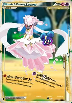 This is a Mega Diancie & Cosmog Legend. I can make you one! Dragon Type Pokemon, My Pokemon, Pokemon Cards Legendary, How To Get, Feelings, Anime, Cartoon Movies, Anime Music, Animation