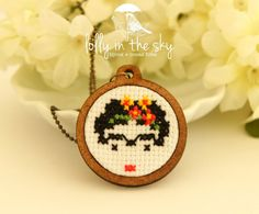 Frida Cross Stitch Necklace
