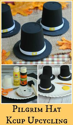 Another great way to up-cycle Kcups into an adorable Pilgrim hat Thanksgiving craft that kids can do!