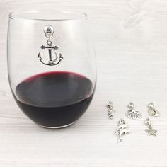 6 Nautical Wine Glass Charms - these are magnetic and can be used on stemless wine glasses!