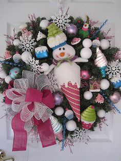 FROSTY-Snowman Snowballs Ice Cream Cupcakes Gingerbread Pastel Wreath