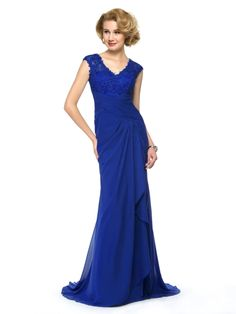 V-Neck Lace Beading Ruched Long Mother of the Bride Dress
