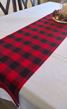 Lumberjack party decor, Logger party decor, Buffalo Plaid Flannel Table Runner,  Red & Black Flannel Table runner by 90West
