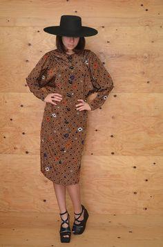 Vintage 80's Dress Brown Avant-Garde Geometric by ThatchVintage