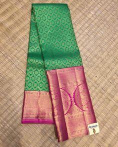Traditional silk saree from Prakashsilks. Prakash Silks Kanchipuram, Silk Saree Kanchipuram, Organza Saree, South Indian Sarees, Ethnic Sarees, Green Saree, Blue Saree, Bridal Sari, Saree Wedding