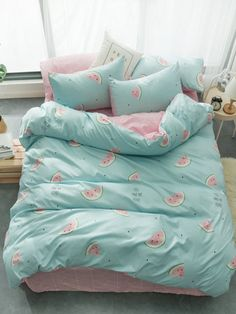 Watermelon & Letter Print Sheet Set SheIn(Sheinside) is part of Pastel bedroom - Cute Bedroom Decor, Cute Bedroom Ideas, Girl Bedroom Designs, Room Ideas Bedroom, Cute Bed Sheets, Pastel Bedroom, Gold Bedroom, Kawaii Bedroom, Decorating Rooms