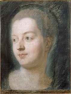 """Maurice-Quentin Delatour """"Préparation"""" d'après le visage de madame de Pompadour Pastel sur papier beige ; la tête collée sur un papier plus sombre H. : 0,32 m ; L. : 0,24 m Inv. L.T. 71 Saint-Quentin, musée Antoine Lécuyer"""