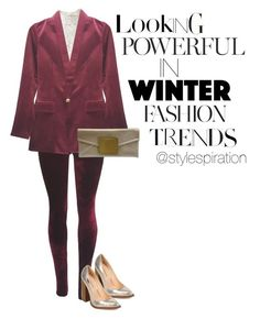 Trending in Velvets by vividkouture on Polyvore featuring Velvet Blazer, velvet leggings and lace top paired with metallic chunky heel pump and metallic clutch