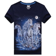 Galloping Wild White Horses Print Graphic T-Shirt in Navy | Gifts for  Animal Lovers