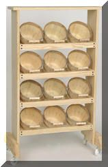 0077 Woodthings.com,store display Basket racks -- would love to have for the pantry/root cellar