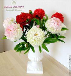 """Купить Букет пионов """"Вулкан удачи!"""" - цветы из полимерной глины, цветы ручной работы"""