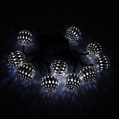Moroccan Silver metal Globe Outdoor String Lights for Christmas Wedding Party Garden Lawn Patio Decoration LED White) Christmas String Lights, String Lights Outdoor, Outdoor Christmas Decorations, Party Garden, Christmas Wedding, Silver Metal, Moroccan, Lawn, Globe