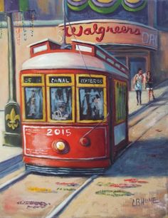 "CB Hume Louisiana Artist: ""New Orleans Streetcar By Walgreens"" Original Louisiana Art Louisiana Art, New Orleans Louisiana, New Orleans Saints, New Orleans Art, New Orleans Homes, Painting Art, Paintings, Expo 2020, New Orleans French Quarter"