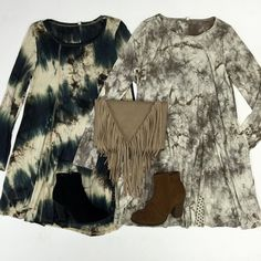 I spy with my little  these tie dye dresses! No outfit is complete without a great new pair of booties!  Dress: $40 Booties: $48 Purse: $48 by shopthemill
