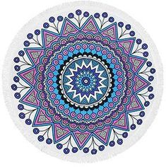 Superfine Fiber Elastic Round Beach Towel Serviette Plage Adulte With Tassels Microfiber Large Reactive Printing Beach Towels Papillion Butterfly, Mandala Print, Beach Blanket, Art Pages, Large Prints, Beach Towel, Outdoor Blanket, Round Towels, Design Art