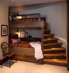 Unique, lighted steps up to top bunkbed. Beehive in Big Sky, MT by Reid Smith Architects #topbeddings