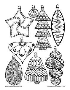 Christmas ornament coloring page for adults and grown ups. Hand drawn by Jennifer Stay and available with many other holiday printable coloring pages at Coloring Pages Bliss