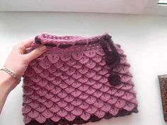 Узор крючком чешуйки Крокодилья кожа Crochet pattern crocodile leather - YouTube