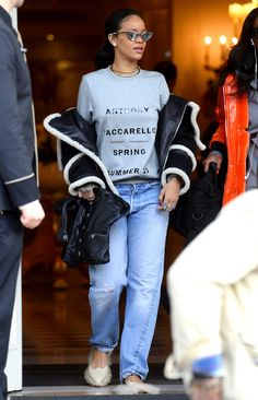 Rihanna was spotted out in Paris on Tuesday, March 10, wearing shoes with feathered soles; would you try this look?
