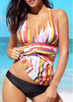Printed Tankini Swimsuit with swim bottom