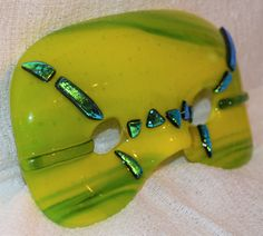 Fused Glass Masquerade Mask. Green. Artist Roy Myers