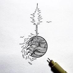 doodle break • • • • • • • #illustration#design#simple#tree#ocean#linework#doodle#art#tattoo#outdoors#sketchbook#adventure#explore#hiking#fall#winter#beach#doodleart#sketcht#rva#creativity#instaart#graphicdesign#clean#branding#logo#blackwork#penandink#minimal#fineliner