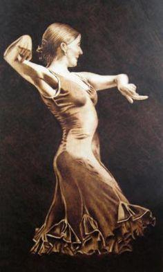 flamenco cuadro pirograbado tabla de madera pirograbado a mano