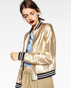 GOLD-TONED BOMBER JACKET-View all-OUTERWEAR-WOMAN | ZARA United States