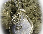 On Sale Baby Blue Lace Agate Wire Wrapped Pendant