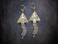 Decadent Rhinestone Assemblage Dangles Earrings with by BevaStyles