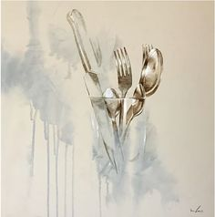 Nono Garcia Cubiertos - mixed media - I love this piece with all the colours and lines flowing/merging into one. I love how some of the cutlery is bold and strong and then as you get to the knife it becomes transparent but you can still see the outline of the knife. I like the use of what seems to be white pencil or paint to create the highlights which make the cutlery really stand out against the dull background.