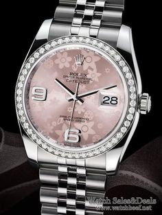 Women's Rolex DateJust 36mm, pink floral motif in steel. 52 bezel set diamonds set in white gold. Introduced 2009. $10,778.00 (without diamonds it's 6,278) http://steindiamonds.com/womens-watches-rolex/ I can not explain how in love with this watch I am. #WANT!