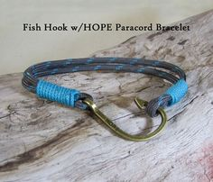 Fish Hook with Hope Paracord Bracelet  Unisex Jewelry