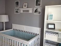 Baby boy nursery - the gray, blue, and white are awesome.