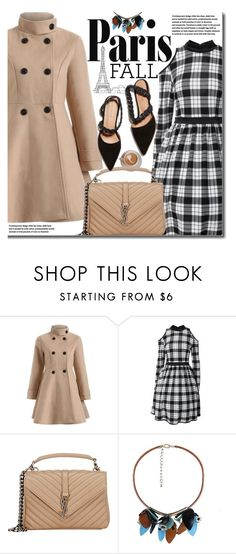 """I Love Paris in the Fall"" by beebeely-look ❤ liked on Polyvore featuring Yves Saint Laurent, plaid, fallfashion, twinkledeals, Dressunder50 and fallgetaway"