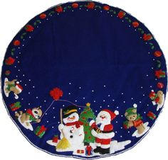 Santa and Snowman - Finished Handcrafted Bucilla Felt Christmas Tree Skirt Diy Christmas Tree Skirt, Xmas Tree Skirts, Felt Christmas Stockings, Christmas Crafts, Christmas Decorations, Christmas Pictures, Crochet Yarn, Yarn Crafts, Snowman