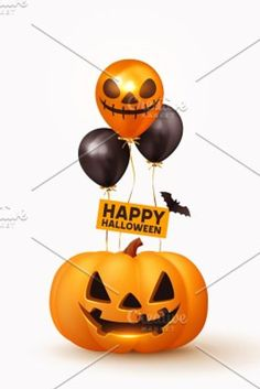 Happy Halloween. Festive background with realistic 3d orange pumpkins with cut scary smile, helium air balloons and flying bats. Holiday poster, flyer, brochure and template cover. Vector illustration