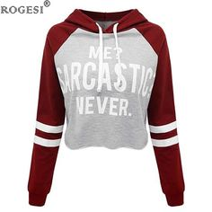 Rogesi New Casual Women T Shirts Hooded Long Sleeve Round Neck Short Shirt Women's Clothing American Apparel