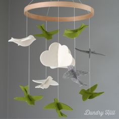 100% Merino Wool Felt Baby Mobile - Eco-Friendly - Rich, Lightfast Colors - Heirloom Quality - Green, Gray and White Birds by dundryhill on Etsy https://www.etsy.com/listing/176335499/100-merino-wool-felt-baby-mobile-eco