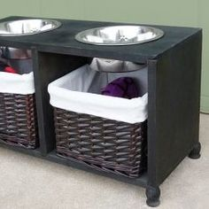Dog Feeding Station Tutorial - Pet Furniture, Make your dog their very own piece of furniture to hold their food and water and store extra treats and toys. Food Dog, Dog Food Recipes, Dog Feeding Station, Pet Station, Elevated Dog Feeder, Elevated Dog Bowls, Raised Dog Bowls, Dog Bowl Stand, Pet Furniture