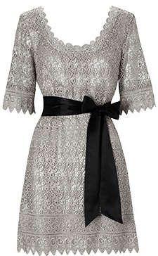 Silver lace dress.