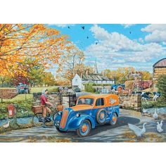 Bits and Pieces - 500 Piece Jigsaw Puzzle for Adults - Farm Services - 500 pc Autumn in The Country Jigsaw by Artist Trevor Mitchell Nostalgic Art, Nostalgic Images, Landscape Art, Landscape Photography, Best Jigsaw, 300 Piece Puzzles, Gifs, Country Landscaping, Country Paintings