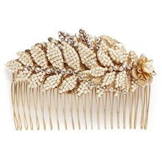 Miriam Haskell Baroque pearl layered leaf hair comb ($525) ❤ liked on Polyvore featuring accessories, hair accessories, hair, jewelry, metallic, miriam haskell, vintage hair accessories, vintage comb, retro hair accessories and vintage hair combs