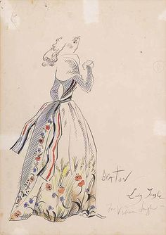 """Costume design for """"The School for Scandal"""" of Vivian Leigh in her role as Lady Teazle, pencil and watercolor, Cecil Beaton"""