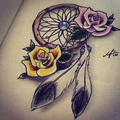 Dream catcher with roses  #dreamcatcher #roses #feathers #tattoo #tattoodesign #sketch #drawing