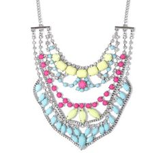 Multi-Tiered Stone Bib Necklace | Claires