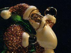 Vintage Christmas Enamel Santa Sparkle Brooch by Silverladyvintage on Etsy