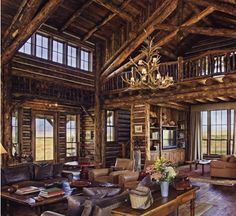 Montana log home patterned after the Great Lodges in the National Parks.