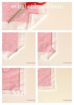 This Pin was discovered by seh Craft Tutorials, Sewing Tutorials, Sewing Projects, Techniques Couture, Sewing Techniques, Sewing Mitered Corners, Quilt Patterns, Sewing Patterns, Diy And Crafts